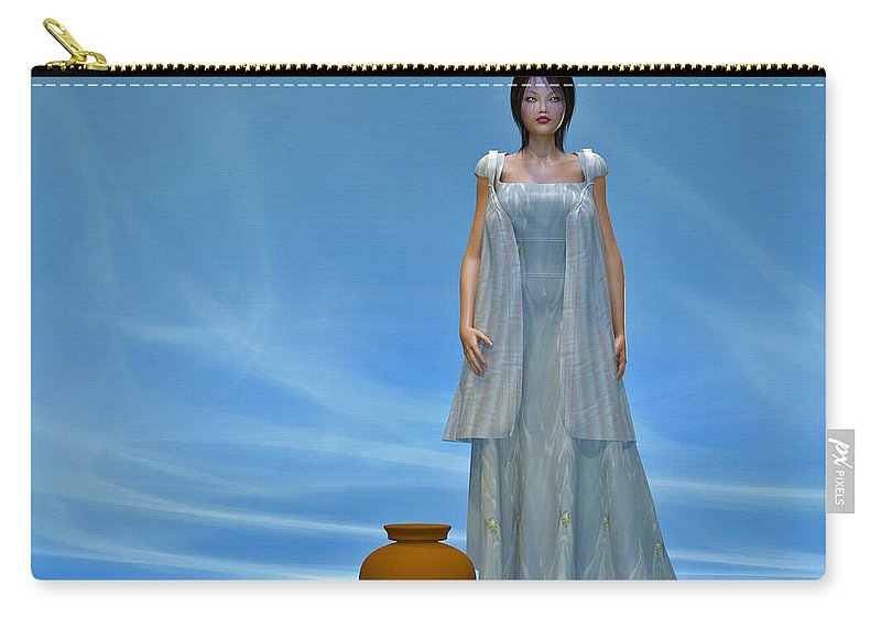Portrait Carry-all Pouch featuring the digital art Goddess... by Tim Fillingim