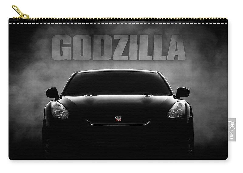 Gtr Carry-all Pouch featuring the digital art Godzilla by Douglas Pittman