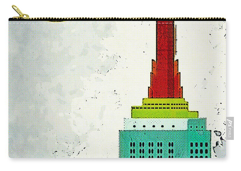 Empire State Building Illustration Carry-all Pouch featuring the digital art Going Away by Nishanth Gopinathan