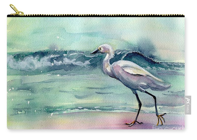Egret Painting Carry-all Pouch featuring the painting Going Home by Maria Reichert