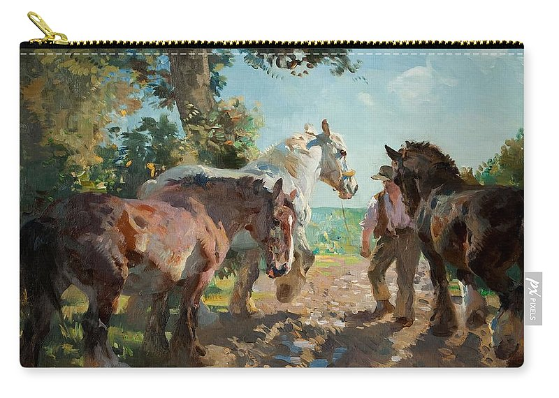 Carthorse Carry-all Pouch featuring the painting Going To Pasture by Dorothy Adamson