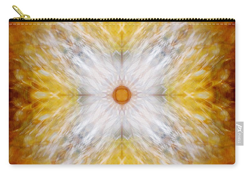 Gold Carry-all Pouch featuring the photograph Gold And White Light Mandala by Susan Bloom