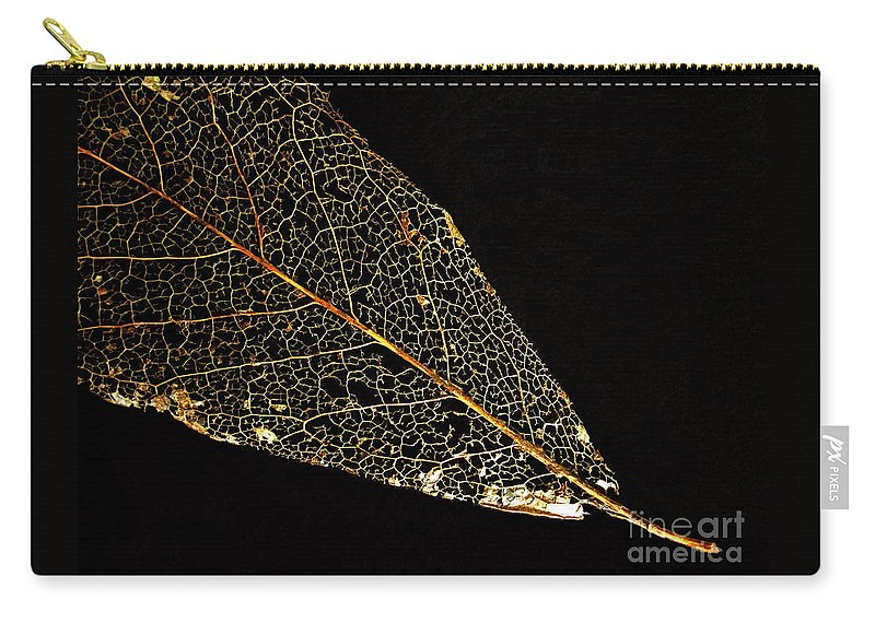 Leaf Carry-all Pouch featuring the photograph Gold Leaf by Ann Horn