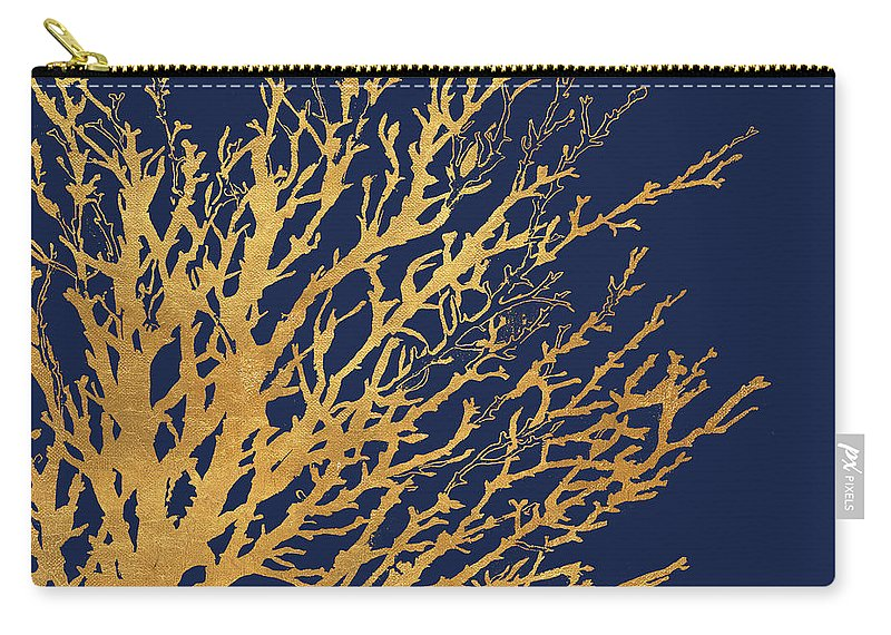 Gold Carry-all Pouch featuring the mixed media Gold Medley On Navy by Lanie Loreth
