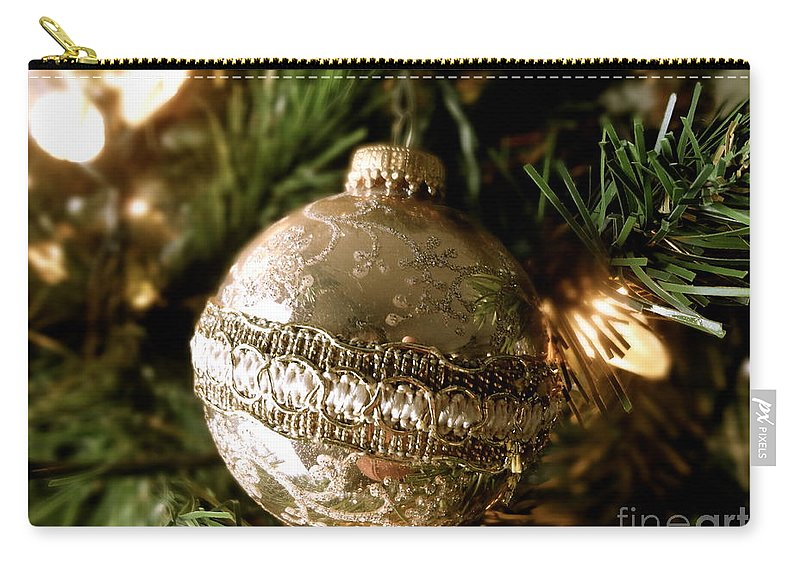 Christmas Carry-all Pouch featuring the photograph Gold Ornament by Jacqueline Athmann