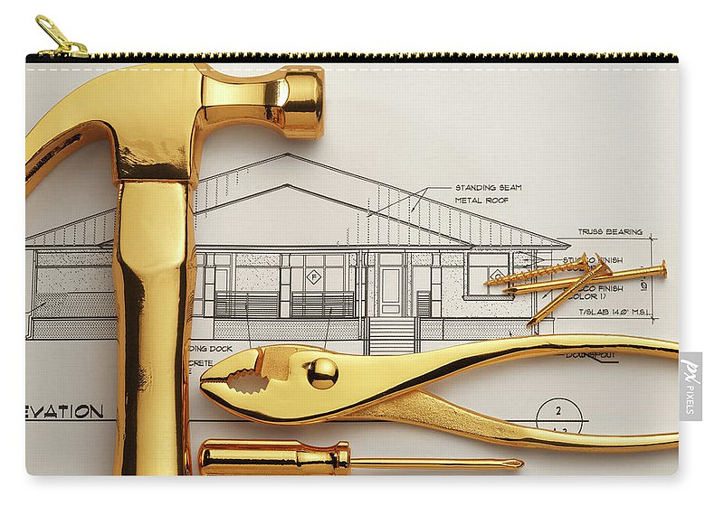 Plan Carry-all Pouch featuring the photograph Gold Plated Tools And Blueprints by Dny59