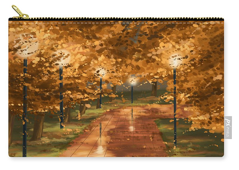 Autumn Carry-all Pouch featuring the painting Gold Reflections by Veronica Minozzi