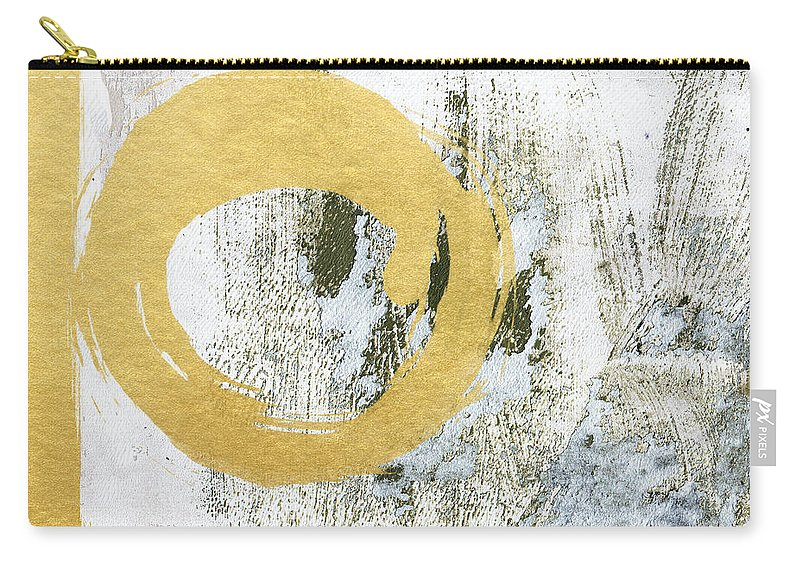 Gold Carry-all Pouch featuring the painting Gold Rush - Abstract Art by Linda Woods