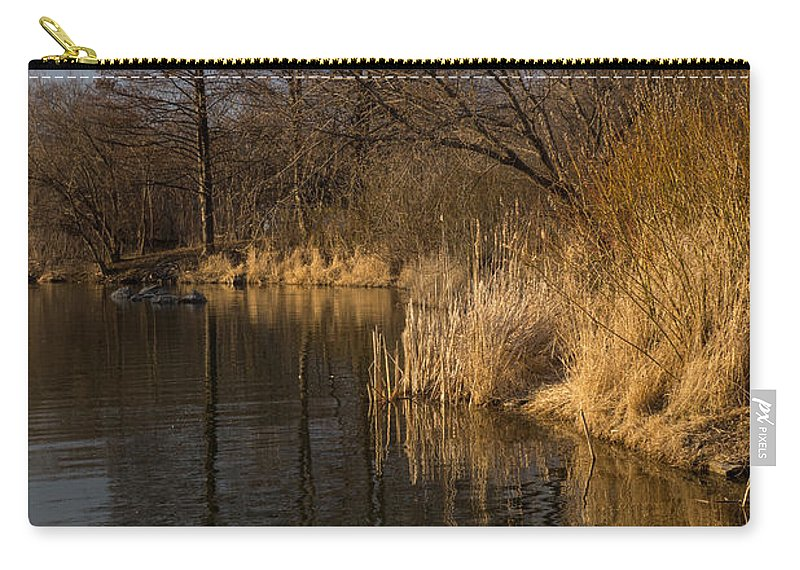 Golden Carry-all Pouch featuring the photograph Golden Afternoon Reflections by Georgia Mizuleva