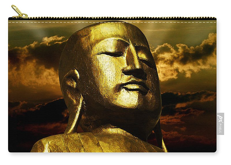 Figur Carry-all Pouch featuring the photograph Golden Buddha by Joachim G Pinkawa