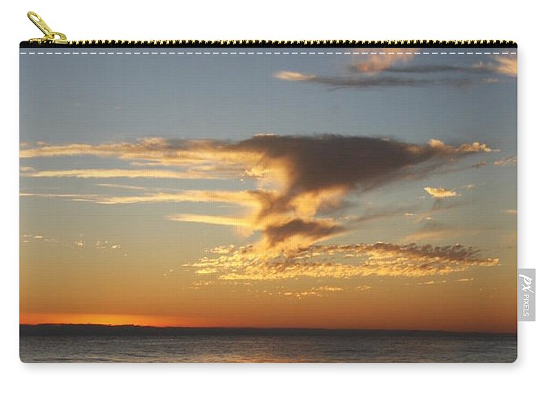 Sunset Carry-all Pouch featuring the photograph Golden Clouds And Blue Sky by Christiane Schulze Art And Photography