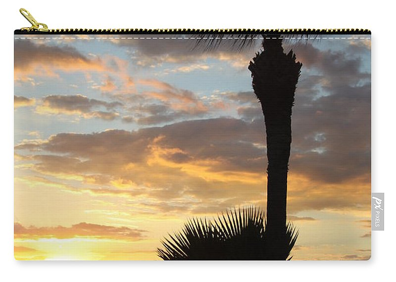 Sunset Carry-all Pouch featuring the photograph Golden Clouds Over Tampa Bay by Christiane Schulze Art And Photography