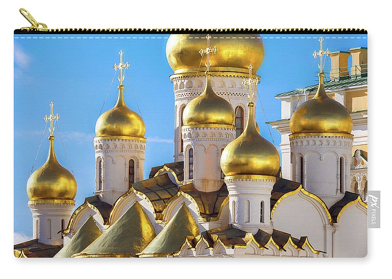 Annunciation Carry-all Pouch featuring the photograph Golden Domes Of The Russian Church by Mordolff