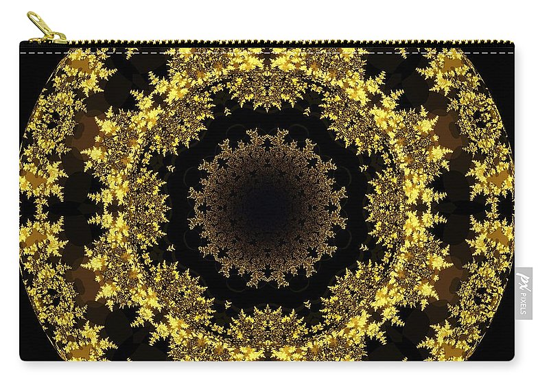 Fractal Art Carry-all Pouch featuring the digital art Golden by Elizabeth McTaggart