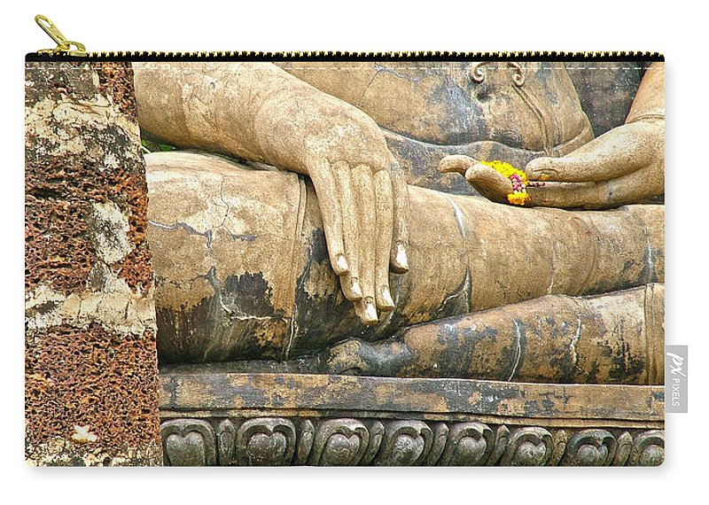 Golden Fingernails On Sitting Buddha At Wat Mahathat In 13th Century Sukhothai Historical Park Carry-all Pouch featuring the photograph Golden Fingernails On Sitting Buddha At Wat Mahathat In Sukhothai Historical Park-thailand by Ruth Hager