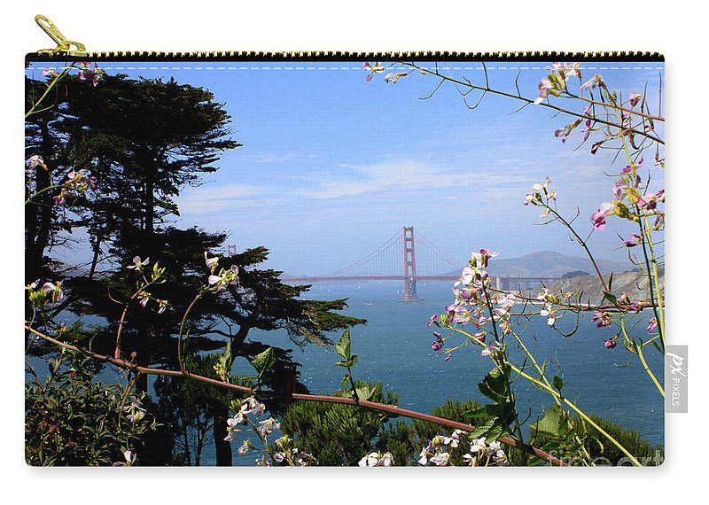 San Francisco Carry-all Pouch featuring the photograph Golden Gate Bridge And Wildflowers by Carol Groenen