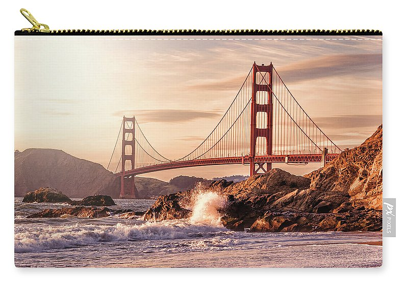 Water's Edge Carry-all Pouch featuring the photograph Golden Gate Bridge From Baker Beach by Karsten May