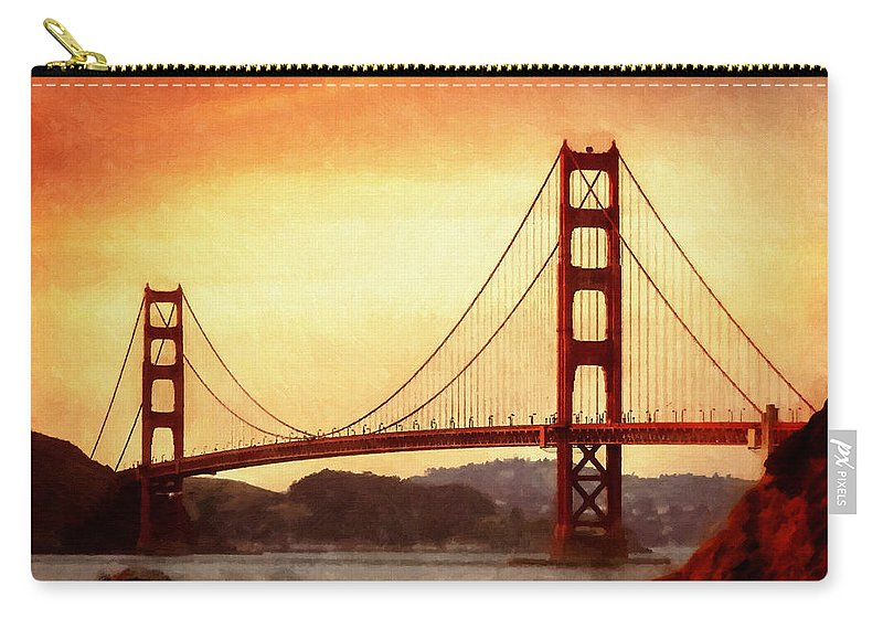 San Francisco Carry-all Pouch featuring the painting Golden Gate Bridge San Francisco California by Fine Art
