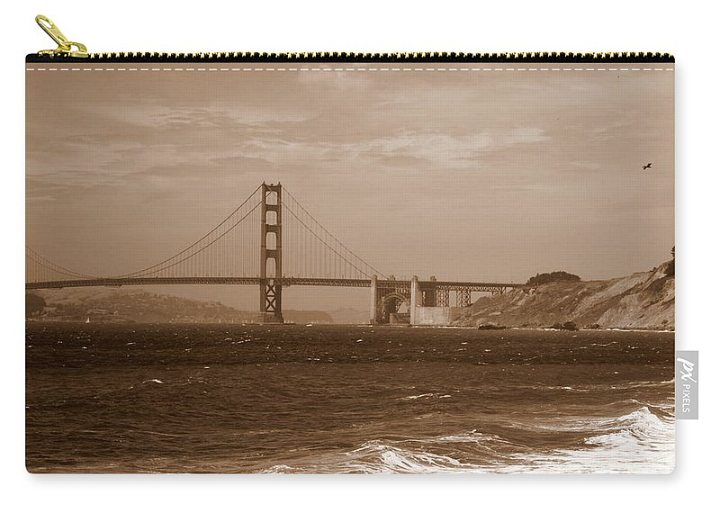 Golden Gate Bridge Carry-all Pouch featuring the photograph Golden Gate Bridge With Surf Sepia by Carol Groenen