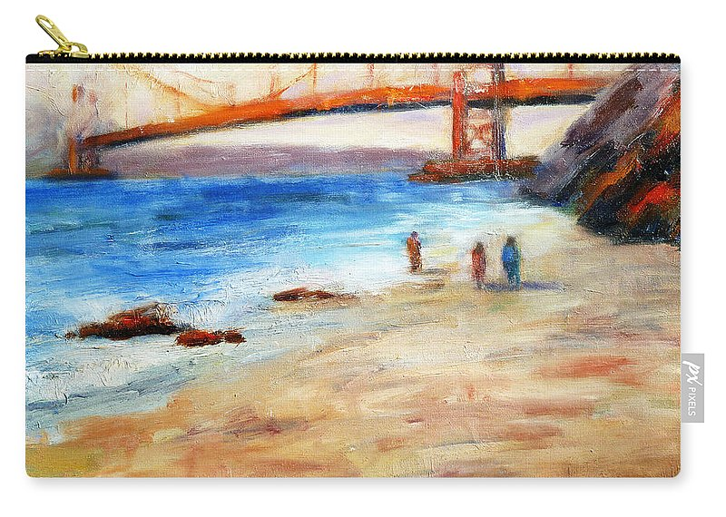 San Francisco Carry-all Pouch featuring the painting Golden Gate Stroll by Carolyn Jarvis