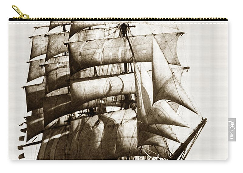 Golden Gate Carry-all Pouch featuring the photograph Golden Gate Tall Ship Circa 1905 by California Views Mr Pat Hathaway Archives