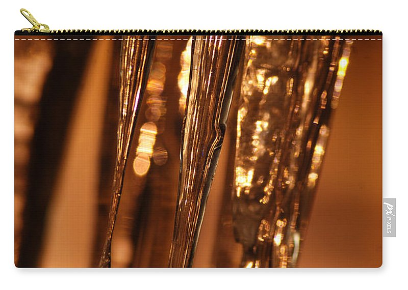 Ice Carry-all Pouch featuring the photograph Golden Ice by Optical Playground By MP Ray
