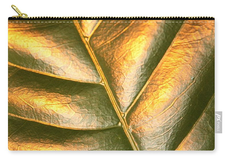 Gold Carry-all Pouch featuring the photograph Golden Leaf 2 by Carol Groenen