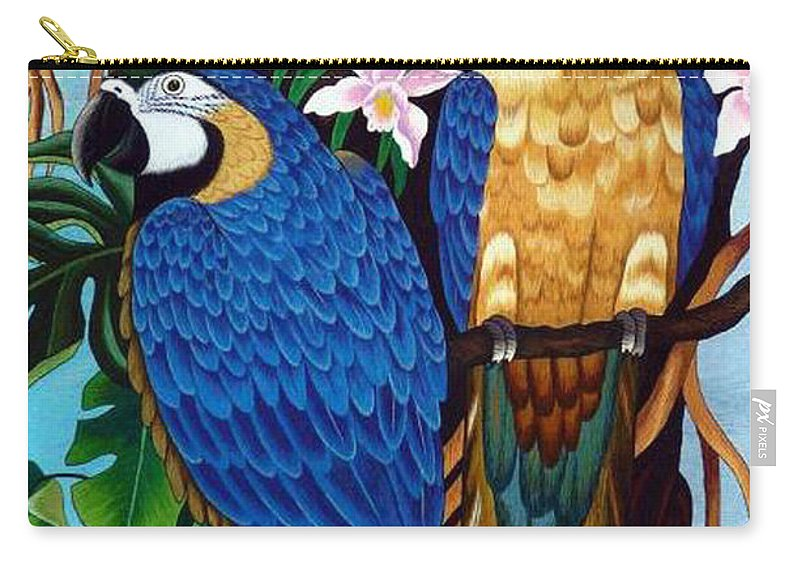 Parrot Carry-all Pouch featuring the tapestry - textile Golden Macaw Hand Embroidery by To-Tam Gerwe