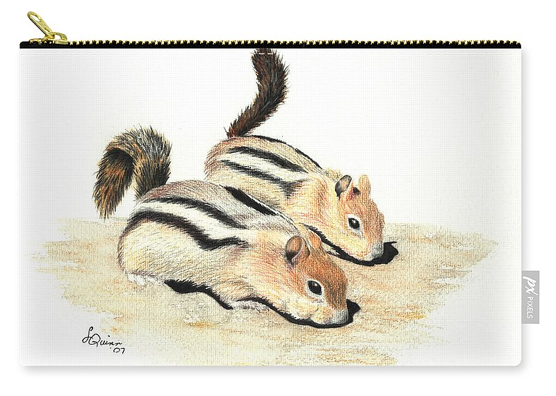 Nature Carry-all Pouch featuring the painting Golden-mantled Ground Squirrels by Lynn Quinn