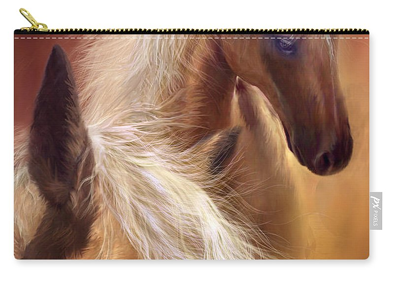 Palomino Carry-all Pouch featuring the mixed media Golden Palomino by Carol Cavalaris