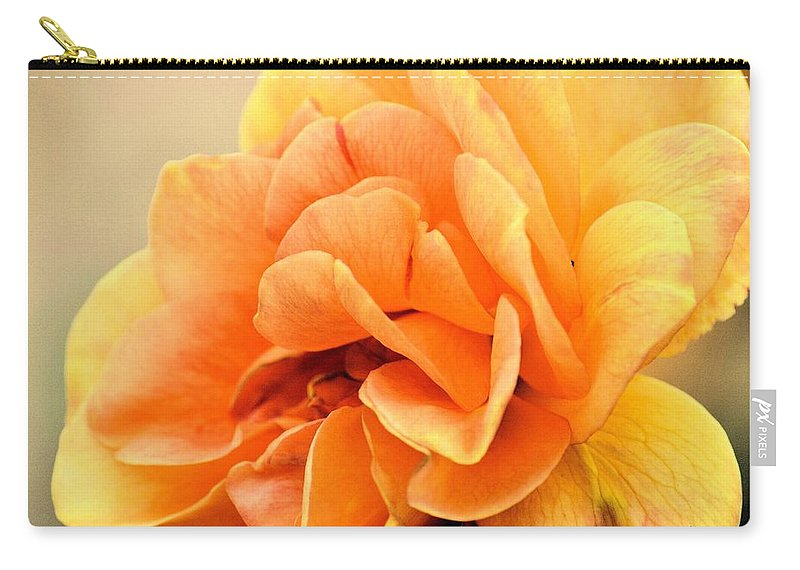 Golden Peach Rose Carry-all Pouch featuring the photograph Golden Peach Rose by Maria Urso
