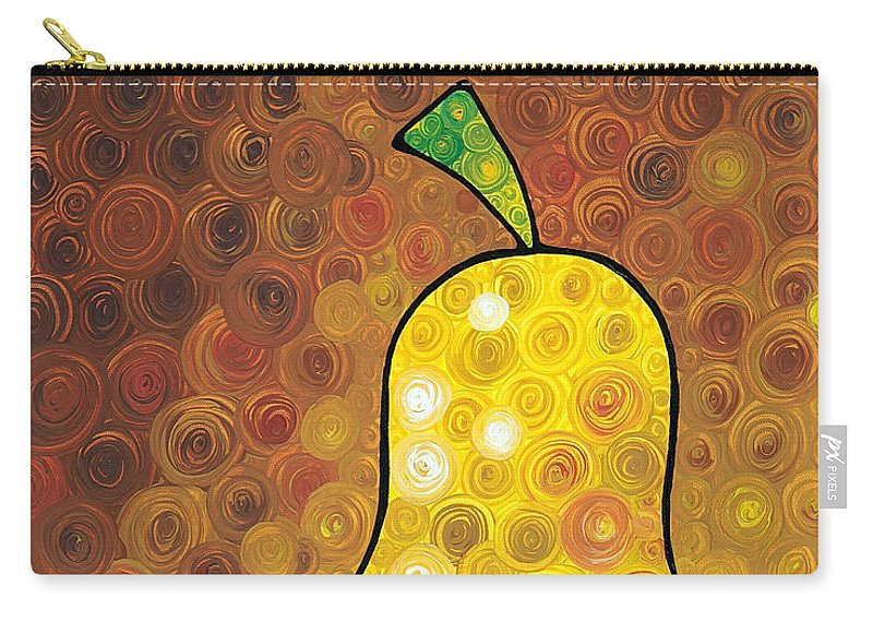 Pear Carry-all Pouch featuring the painting Golden Pear by Sharon Cummings