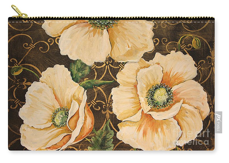 Acrylic Painting Carry-all Pouch featuring the painting Golden Poppies by Jean Plout