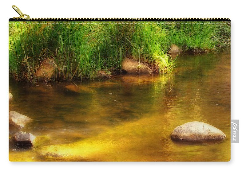Pond Carry-all Pouch featuring the photograph Golden Reflections by Michelle Wrighton