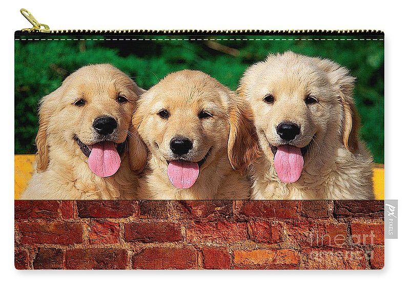 Golden Retriever Carry-all Pouch featuring the mixed media Golden Retriever by Marvin Blaine