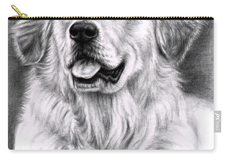 Dog Carry-all Pouch featuring the drawing Golden Retriever Spence by Nicole Zeug