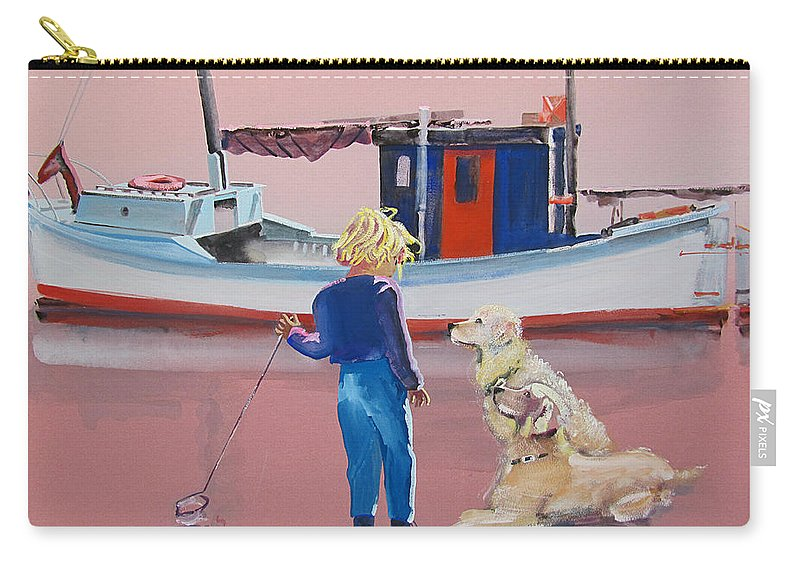 Retriever Carry-all Pouch featuring the painting Golden Retrievers by Charles Stuart