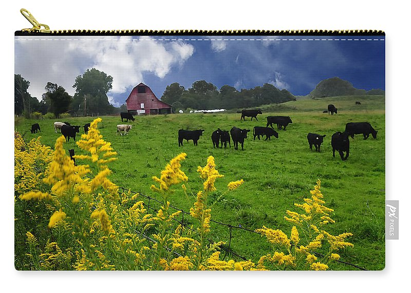 Golden Rod Carry-all Pouch featuring the photograph Golden Rod Black Angus Cattle by Randall Branham