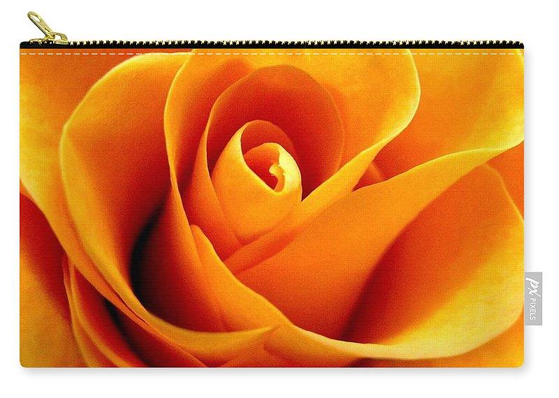 Rhonda Barrett Carry-all Pouch featuring the photograph Golden Rose by Rhonda Barrett