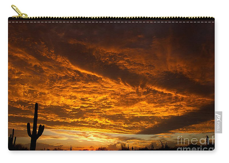 2011 Carry-all Pouch featuring the photograph Golden Saguaro by Nicholas Pappagallo Jr