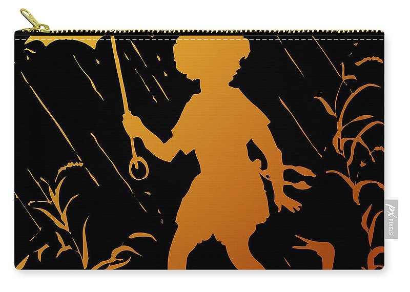Walking In The Rain Carry-all Pouch featuring the digital art Golden Silhouette Of Child And Geese Walking In The Rain by Rose Santuci-Sofranko