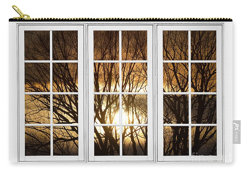 Window Carry-all Pouch featuring the photograph Golden Sun Silhouetted Tree Branches White Window View by James BO Insogna