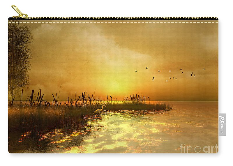 Nature Carry-all Pouch featuring the digital art Golden Sunset by Carlotta Ceawlin