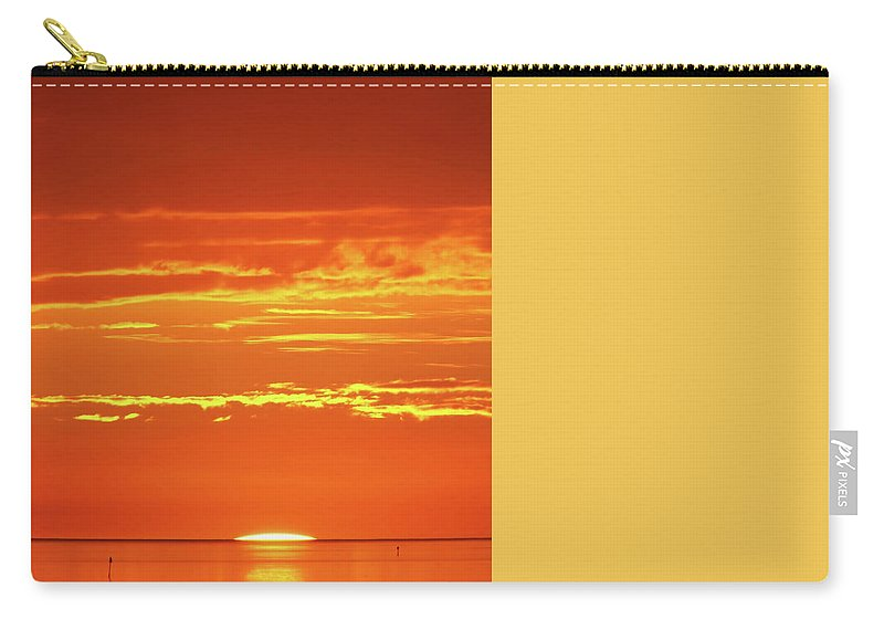 Sunset Carry-all Pouch featuring the drawing Golden Sunset Glow by D Hackett