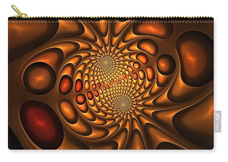 Chocolate Carry-all Pouch featuring the digital art Golden Vortex by Doug Morgan