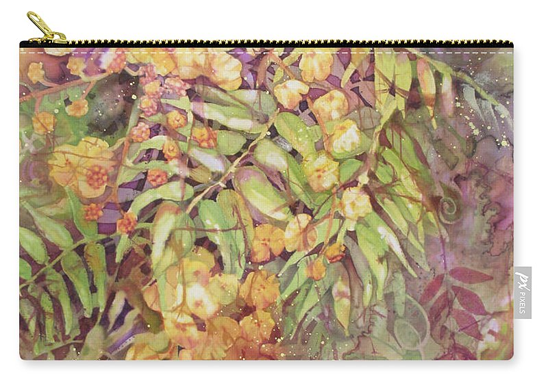 Flower Carry-all Pouch featuring the painting Golden Wattle by Deborah Younglao