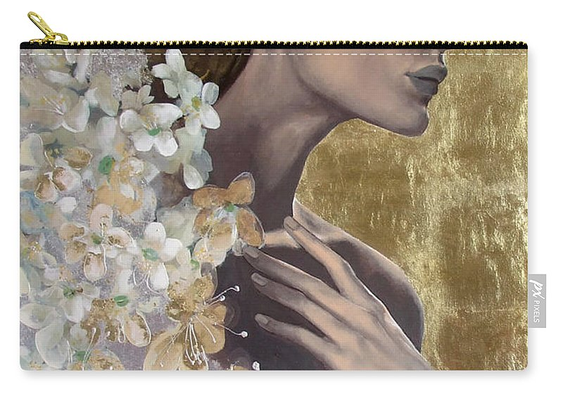 Carry-all Pouch featuring the painting Golden Wind by Dorina Costras