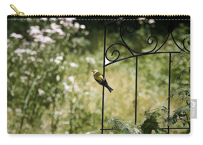 Bird Carry-all Pouch featuring the photograph Goldfinch On The Lookout -19 by Ericamaxine Price