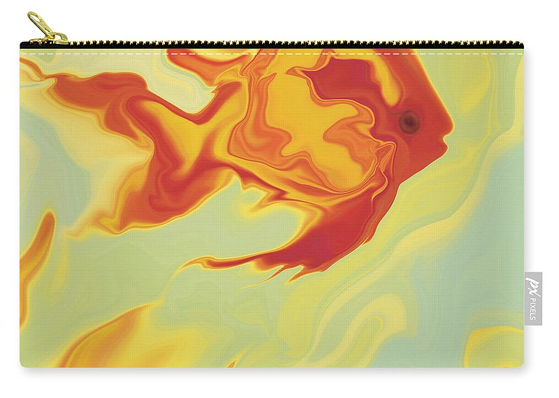 Aquarium Carry-all Pouch featuring the digital art Goldfish 1 by Rabi Khan