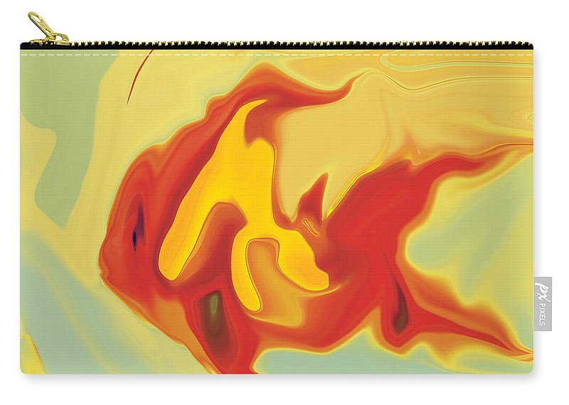 Aquarium Carry-all Pouch featuring the digital art Goldfish 2 by Rabi Khan